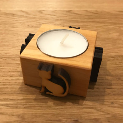 Cat Wooden Tealight Candle Holder