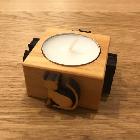 Wooden Tealight Candle Holder - Cat