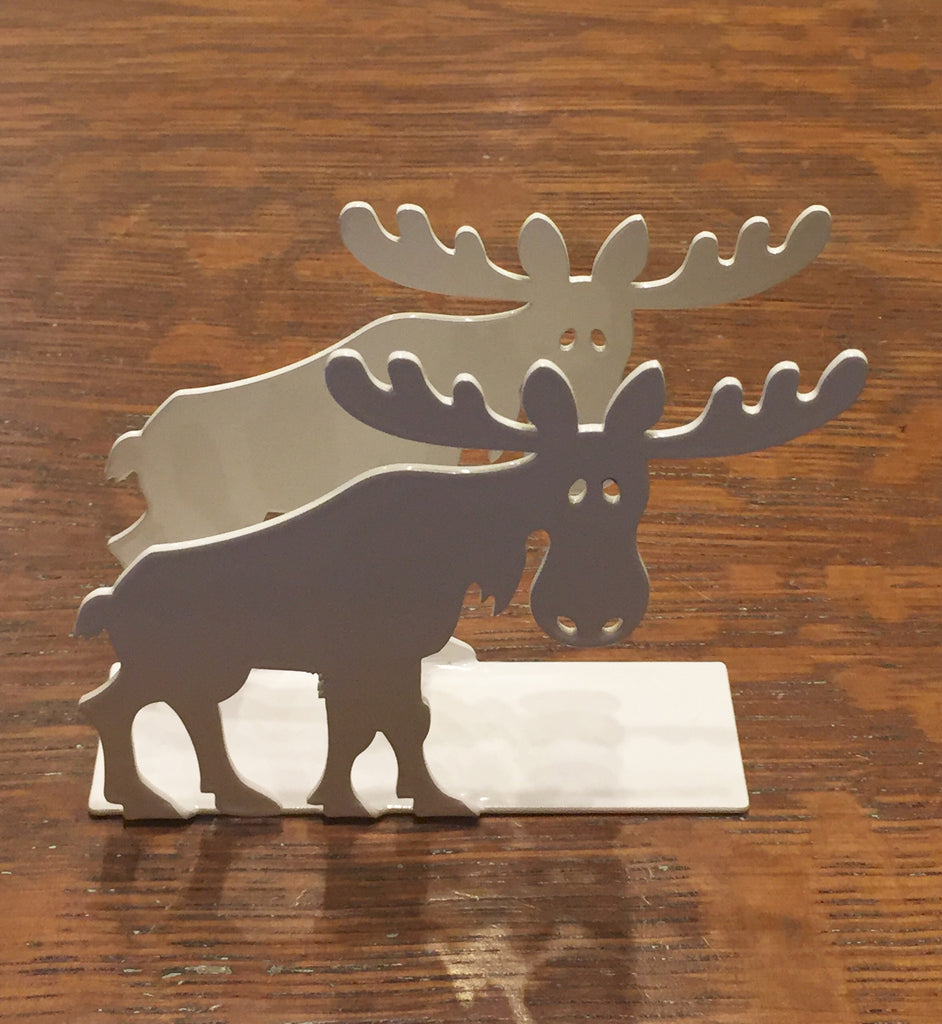 Iron Napkin Holder - Moose - White