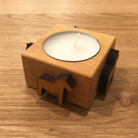 Wooden Tealight Candle Holder - Dala Horse