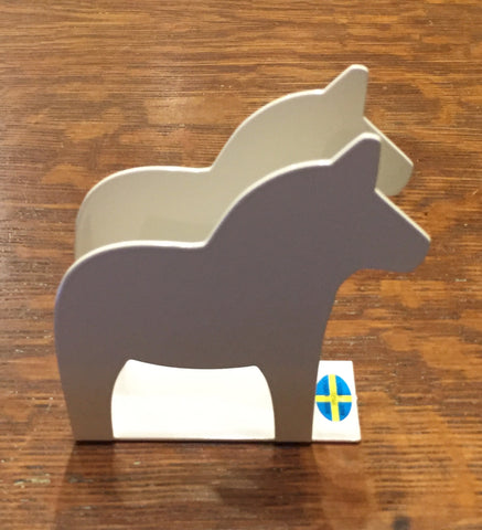 Iron Napkin Holder - Dala Horse - White