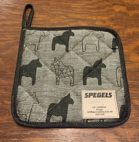 Padded Pot Holder / Trivet - Dala Horse - Black