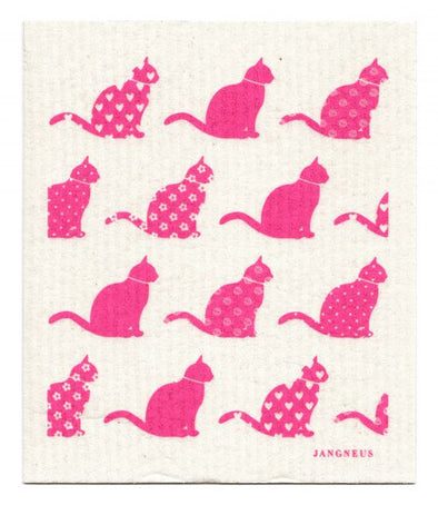 Cats - Pink - The Amazing Swedish Dishcloth