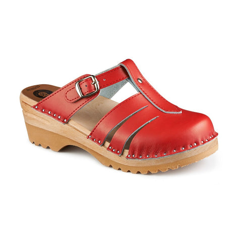 Troentorp Bastad Handmade Clogs - Womens - Mary Jane Red