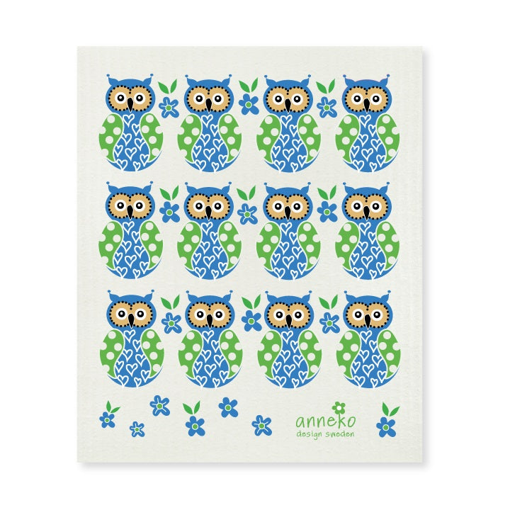 Blue Owls Dish and Cleaning Cloth - by Anneko