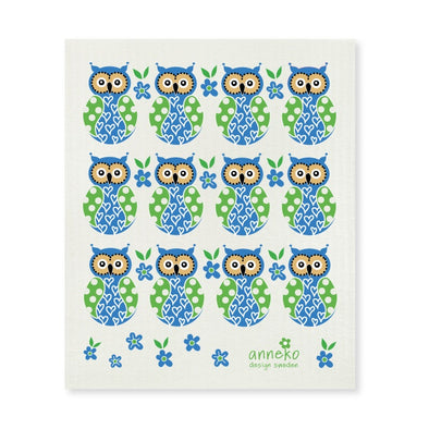 Owls - Blue - The Amazing Swedish Dish Cloth