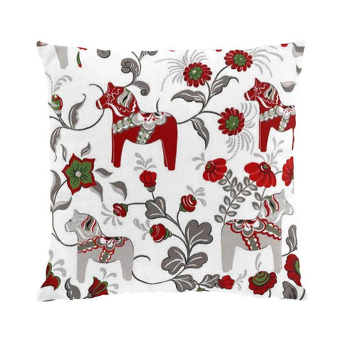 Pillow Case - Colorful Dala Horse - White & Grey
