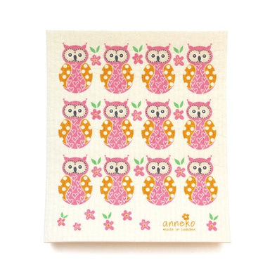 Owls - Pink - The Amazing Swedish Dish Cloth