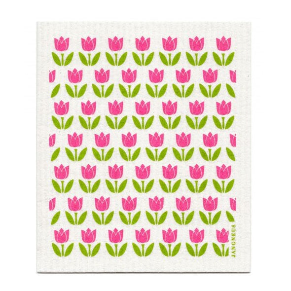 Tulips - Small Pink - Amazing Swedish Dish Cloth -