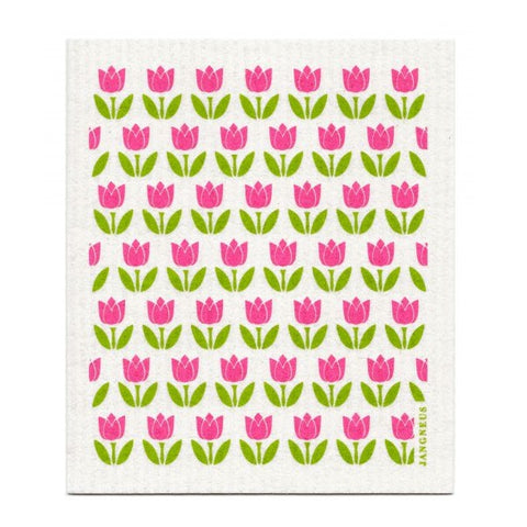 Amazing Swedish Dish Cloth - Small Pink Tulip