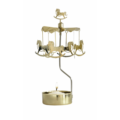 Rocking Horse - Gold - Rotating Carousel Candle Holder