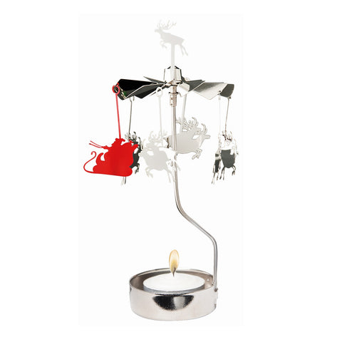 Rotating Carousel Candle Holder - Santa with Raindeer