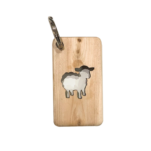 Sheep Cut Out Wooden Key Ring