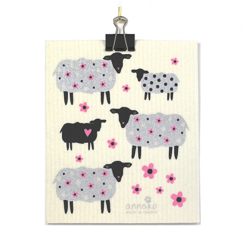 Sheep and Flowers Dish and Cleaning Cloth - by Anneko