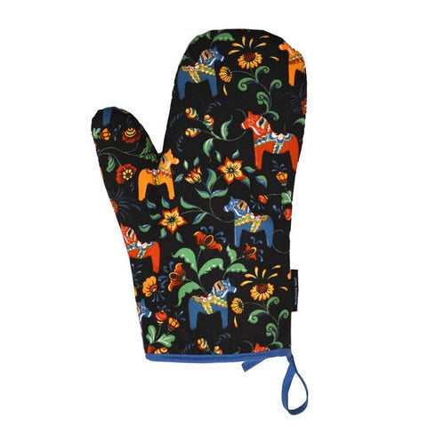 Oven Mitt - Colorful Dala Horse - Black & Blue