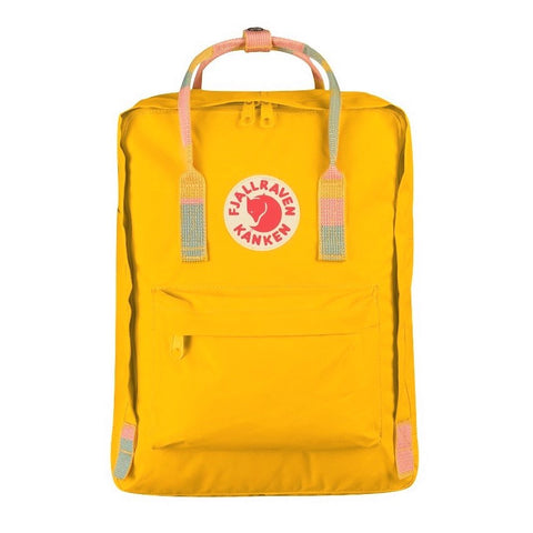 Fjallraven Kanken Classic Backpack – Warm Yellow & Random Blocked