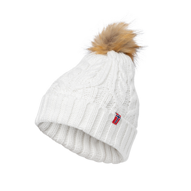Knit Stocking Hat with Faux Fur Pom Unisex - White