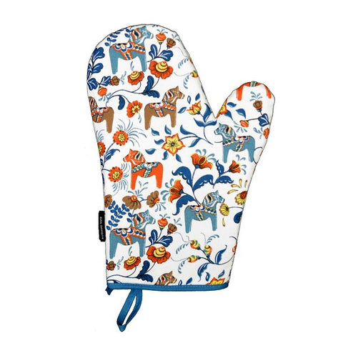 Oven Mitt - Colorful Dala Horse - White & Blue