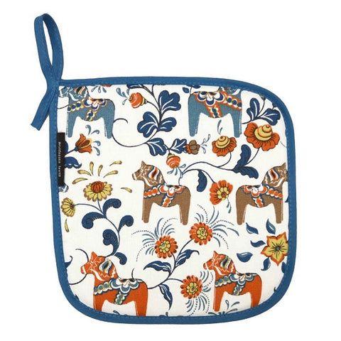 Pot Holder / Trivet - Colorful Dala Horse - White & Blue