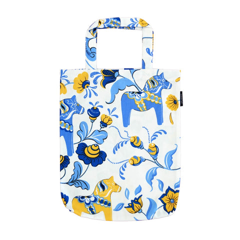 Tote Shopping Bag - Colorful Dala Horse - White & Blue