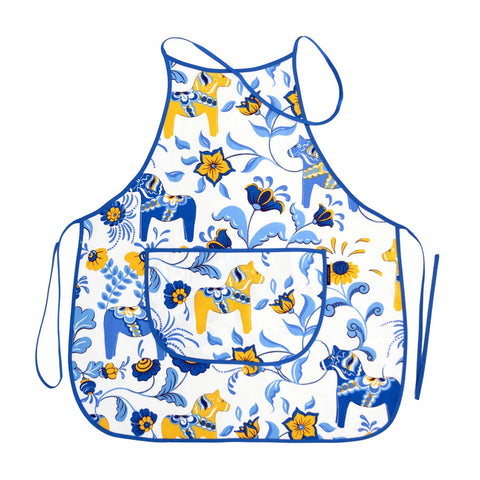 Apron - Colorful Dala Horse - White & Blue