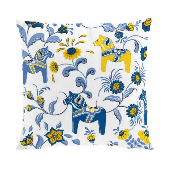 Dala Horse White, Yellow & Blue Pillow Case