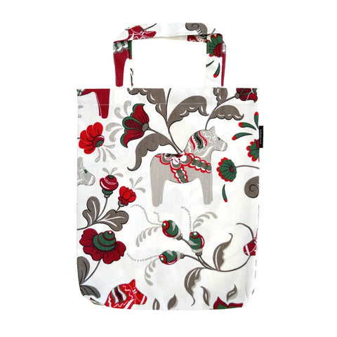 Tote Shopping Bag - Colorful Dala Horse - White & Red