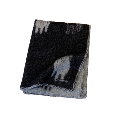 Sheep Wool Blanket - Black and Grey