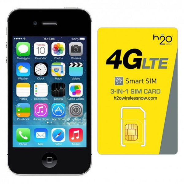 Refurbished Apple iPhone 4S GSM Unlocked Black 8GB & H20 4G LTE SIM Card (1GB Data Included)