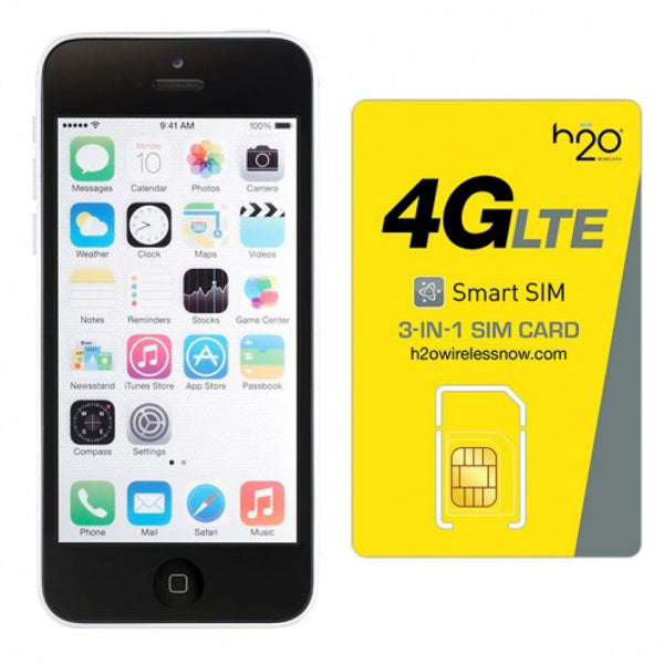 Refurbished Apple iPhone 5C AT&T White 8GB & H20 4G LTE SIM Card (1GB Data Included)
