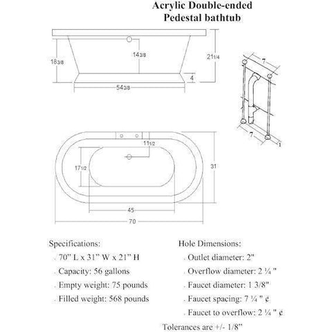 "Cambridge Plumbing Acrylic Double Ended Pedestal Bathtub 70"" X 30"" - BathVault"