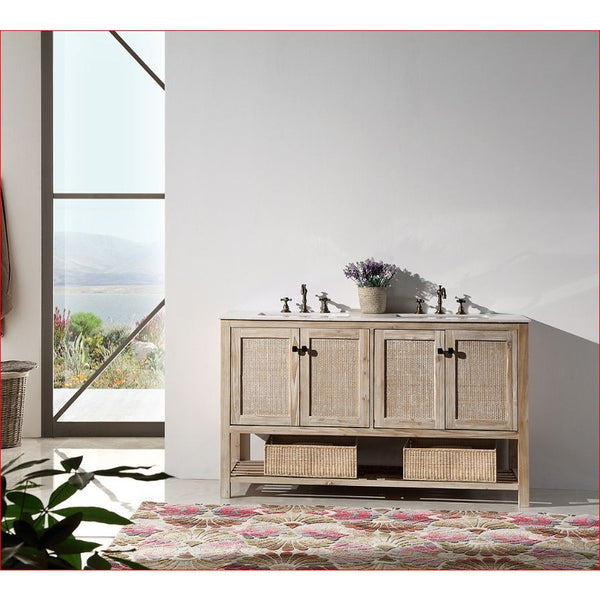 "Legion Furniture 60"" Double Sink Vanity WH5160 Rustic White - BathVault"