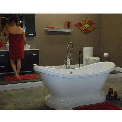Cambridge Plumbing Acrylic Double Ended Pedestal Slipper Bathtub 68