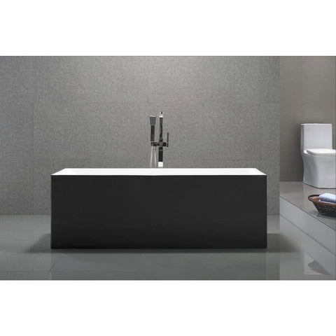 "MTD Vanities Black Exterior Long Beach 60"" Freestanding Acrylic Bathtub - BathVault"