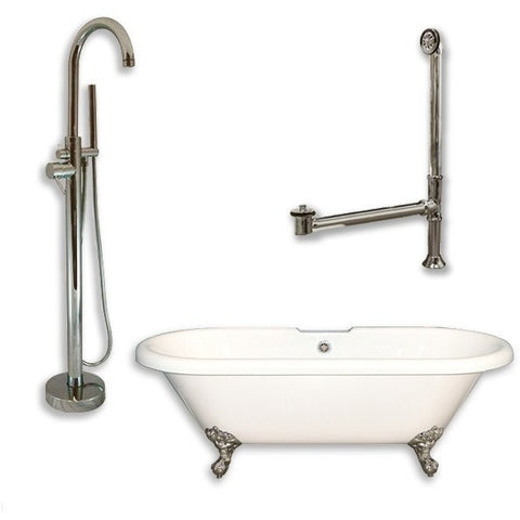 "Cambridge Plumbing Acrylic Double Ended Clawfoot Bathtub Package 70"" X 30"" - BathVault"