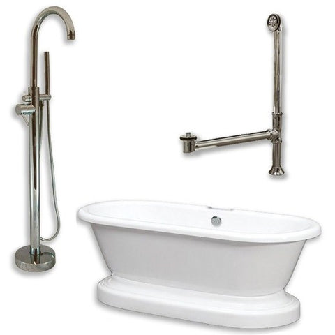 "Cambridge Plumbing Acrylic Double Ended Pedestal Bathtub Package 70"" X 30"" - BathVault"
