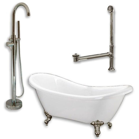 "Cambridge Plumbing Acrylic Double Ended Clawfoot Bathtub Package 68"" X 30"" - BathVault"