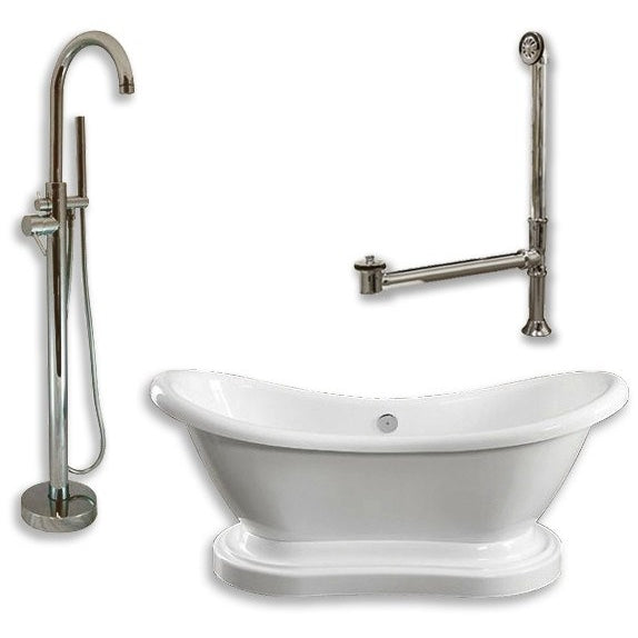 "Acrylic Double Ended  Pedestal Slipper Bathtub Package 68"" X 28"" (NEW PACKAGE) - BathVault"
