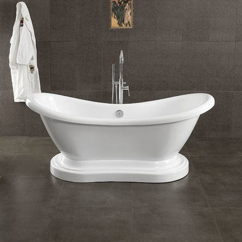 "Cambridge Plumbing Acrylic Double Ended Pedestal Slipper Bathtub 68"" X 28"" - BathVault"