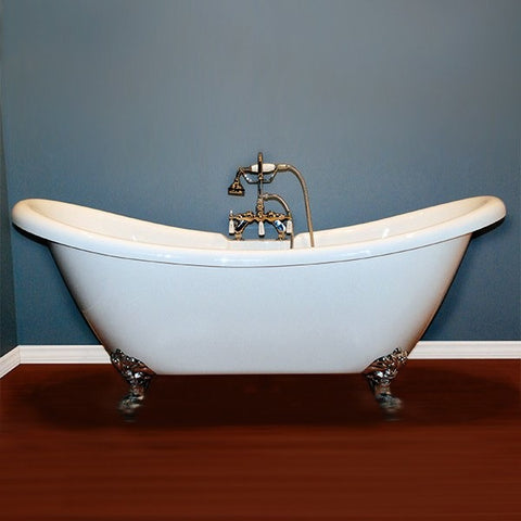 "Cambridge Plumbing Acrylic Double Ended Slipper Bathtub 68"" X 28"" - BathVault"