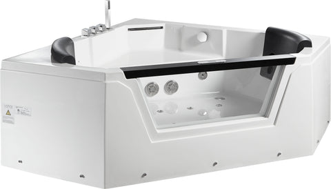 Eago 60 in. Acrylic Right Drain Corner Apron Front Whirlpool Bathtub in White - BathVault