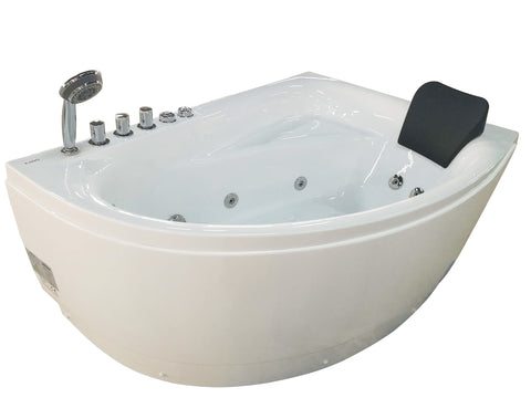 Eago 59 in. Acrylic Left Drain Corner Apron Front Whirlpool Bathtub in White - BathVault