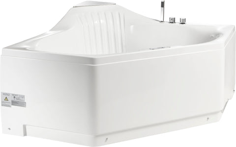 Eago 60 in. Acrylic Center Drain Corner Apron Front Whirlpool Bathtub in White - BathVault
