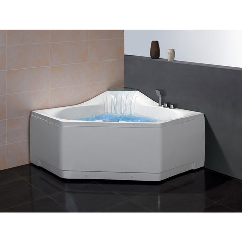 "ARIEL Platinum AM168 Massage Jet Whirlpool Corner 59"" Bathtub - BathVault"