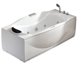 Eago 71 in. Acrylic Flatbottom Whirlpool Bathtub in White - BathVault