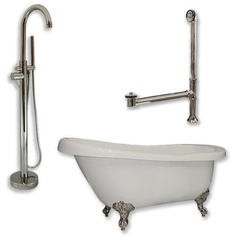 "Cambridge Plumbing Acrylic  Slipper Bathtub 61"" X 30"" Bathtub Package - BathVault"