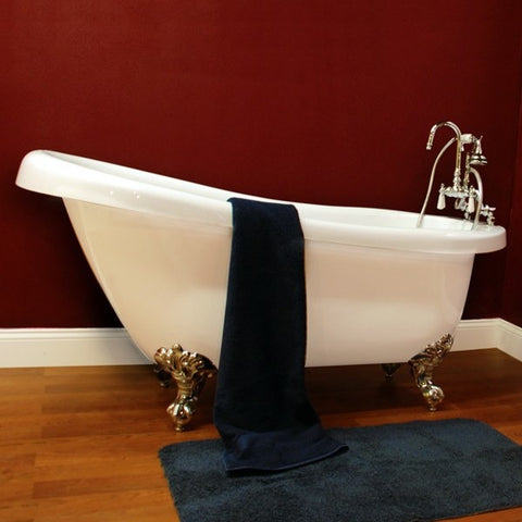 "Cambridge Plumbing Clawfoot Slipper Freestanding Bathtub 61"" X 30"" - BathVault"
