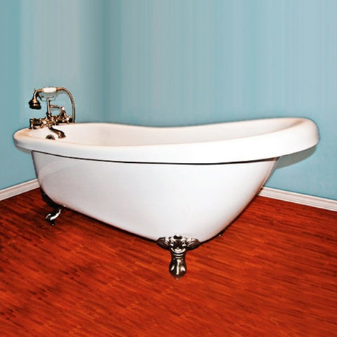 "Cambridge Plumbing Clawfoot Freestanding Acrylic Slipper Bathtub 67"" X 30"" - BathVault"