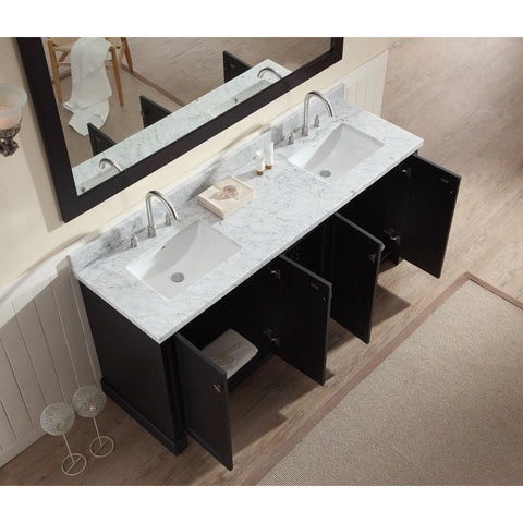 "ARIEL Westwood 73"" Double Sink Vanity Set Black or White C073D - BathVault"