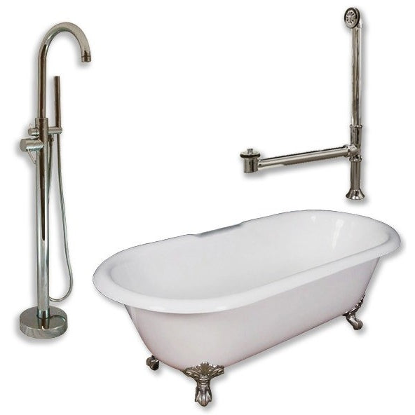 "Cambridge Plumbing Cast Iron Double Ended Clawfoot Tub Package 67"" X 30"" - BathVault"